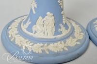 """Wedgwood Jasperware Vase, Pair of Candlesticks and (3) """"Vintage Blue"""" Pattern Cups"""