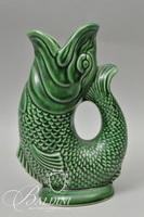 Dartmouth England Green Embossed Gurgling Fish Jug Pitcher