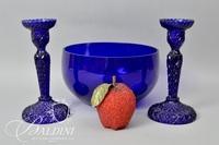 Pair Blue Cobalt Candlesticks and Bowl