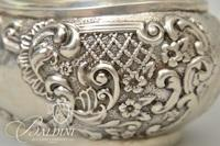 Antique Sterling Silver Hinged Lid Tea Caddy with Wood Finial - 6.17 ozt
