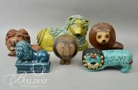 (6) Assorted Paper Mache and Wood Carved Lions- Some Signed