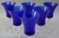 (6) Cobalt Blue Stemware