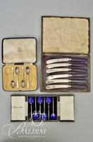 (6) Harrods of London Sterling Demi-Tasse Spoons by Mappin & Webb with Blue Enameled Bowls, (6)Plated Fruit Knives-Damaged and (4) Mappin & Webb Sterling Spoons in Case