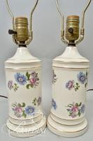 Pair of Hand Painted Floral Bedroom Lamps