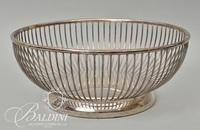 Wire Works Basket and (4) Other Assorted Silverplate Serving Baskets