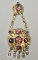 Vintage Necklace Hanging Pendant with Color Stones