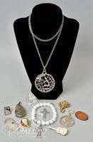 Assorted Vintage Costume Jewelry, Including Sterling Silver Pendant and Brooch
