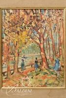 "Dezso Kovesi Small Study of ""Bois de Boulogne"" Oil on Board, Signed- Some Damage"