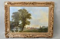 Important 18th Century Edward D'ayes (British 1763 - 1804) English Landscape with Cathedral Oil on Fabric - Damaged