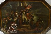 "Important Early 1800's Polychromed Tole Tray with Hand Painting in Oil of ""Lord Nelson Battle at Aboukir"""
