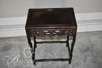 (2) Pie Crust Candle Stand Tables and Small Teakwood Chinese Chippendale Table with Foliate Carving - Some Damage