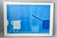 """William Scott Screen Print """"Cup and Pan Blues"""" 1970, Signed and Numbered 24/100 - Damaged"""