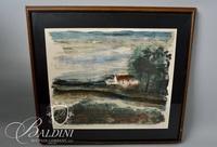 "Vlaminck ""Cottage by a River"" Framed Artist's Proof Lithograph, Signed - Some Damage"