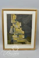 """Signac """"Seated Man"""" Framed Abstract Lithograph, Signed and Number 102/175"""