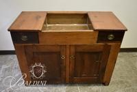 Early 19th Century Double-Sided Sink With Copper Dry Sink in Pine Cabinet