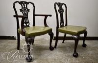 (6) Early Chippendale Dining Chairs with Ball and Claw Feet Hand-Crafted by S & H Jewell, London,  Brass Label on Underside of Each Chair - Damaged