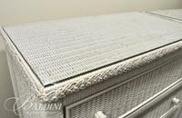 Pair Henry Link White Wicker 5-Drawer Chests - Some Damage