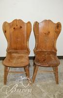 Pair Solid Wood Early American Chairs - Some Damage