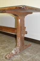 Solid Wood Early Shoe Foot Harvest Table with Glass on Top of Wood- Some Damage
