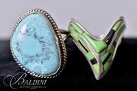 """Jay King"" Green Turquoise Ring Stamped 925 and Turquoise Ring Stamped R.B. 925"
