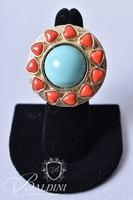 Turquoise and Coral Ring on Gold Tone Band Stamped CN