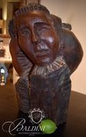 """Rare Hand Carved Wood Sculpture """"Icarus"""" Attributed to Puryear Mims (1906-1975)"""