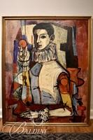 """""""Jester"""" Attributed to Joseph Almyda (1926-2011) Oil on Canvas Mounted To Board"""