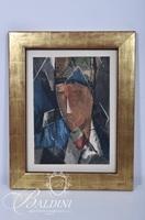 """Jacques Villon """"Portrait d' Homme"""" Cubist Chalcographie de Louvre"""