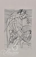 """Nahum Tschacbasov (Russian 1899 - 1984) """"Nativity"""" Etching Pencil Signed and Numbered 17/100"""