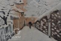 Woman Walking in Snow Watercolor Artist Unknown