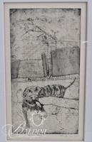 """Ron McBurnie """"Road Dog"""" Etching, Pencil Signed and Numbered 3/16, Dated 1983"""