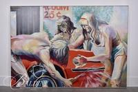 """Charles L. Cecil """"Car Wash"""" Acrylic on Canvas, Signed"""