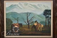 """Mrs. R. R. Holland """"Pack Ponies"""" Oil on Board, Signed"""