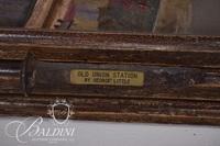 "George E. Little ""Old Union Station"" Acrylic on Canvas, Signed - Damaged"