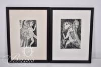 """Nahum Tschacbasov (Russian 1899 - 1984) """"Two Figures"""" """"Mesopotamian Allegory"""" Etchings, Signed and Numbered 17/100"""