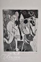 """Nahum Tschacbasov (Russian 1899 - 1984) """"Dying Horse"""" Etching, Signed and Numbered 17/100"""