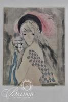 "Jaques Villon, Marie Laurencin ""Girl with Red Feather"" Chalcographie de Lourve"