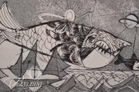 """(2) Nahum Tschacbasov (Russian 1899 - 1984) """"Flying Fish"""" and """"Mesopotamian Allegory"""" Etchings"""