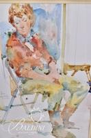 """Charles Reid """"Janet at Snug Harbor"""" Framed Watercolor, Signed and Dated 5.2.83"""
