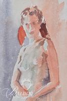 """Fred Rubens """"Figure"""" Watercolor, Signed"""