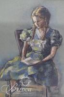 """Ethel Smith """"Young Girl Reading"""" Pastel, Signed"""