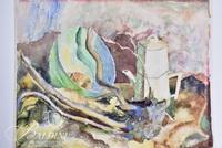 "Elizabeth Stansell ""Bowl and Coffee Pot"" Watercolor, Signed"