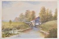"""Franz Weiss (Austrian) """"Landscape with Covered Bridge"""" Acrylic on Paper, Signed"""