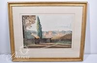 """Jean-Baptiste Camille Corot """"Florence, Italy"""" Print Pierre Labrauche, 1929"""