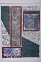 """Caroline Bowman """"Thinking Space"""" Monoprint and (2) Framed Abstract Paintings, Signed"""