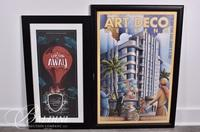 """(2) Posters """"Up Up and Away"""" and """"Art Deco"""""""