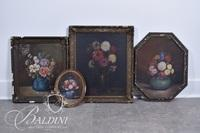 """(4) Early Floral Paintings on Canvas - One Entitled """"Dahlias"""" and """"Autumn Flowers"""" by Mrs. Edwin M. Gardner"""