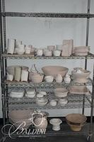 Enitre Lot of Raw Ware Pottery as Shown on Wire Shelving