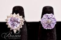 (2) Rings with Light Purple and CZ Stones, Both Stamped 925