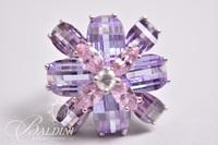 Flower Ring with Pink and Purple Stones, Stamped 925 Thailand